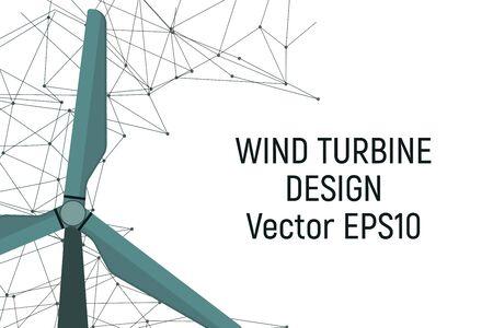 Wind generator. Electric energy. Vector illustration Modern industry