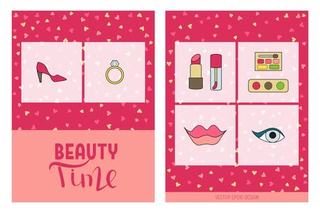 Beauty time flyer. Flat doodle design vector illustration. Cosmetics and accessories. Vectores