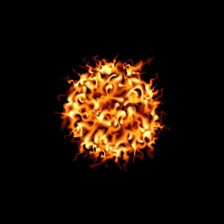 Ball lightning on black background. Fire design vector illustration. Vectores