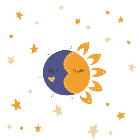 Sun, stars and moon. Vector illustration. Night and day sky. White background.