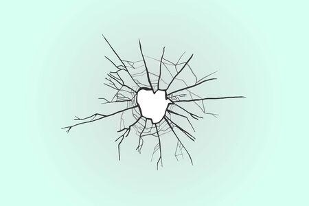 Broken glass with cracks. Smash vector illustration. Bullet hole.
