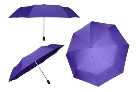 Set of purple umbrellas. Vector parasol illustration. Protection from rain.