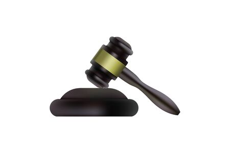 Judge wooden gavel. Vector illustration hammer. Icon justice White background Vectores