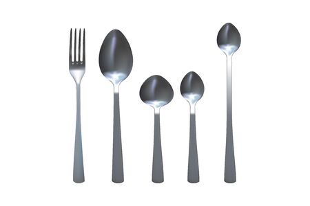 Spoon and fork set. Metallic kitchen flatware. Vector illustration.