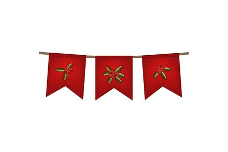 Christmas and new year. Flag garland. Red holly decoration. Vector illustration.