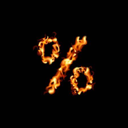 Percent sign. Fire sale design on black background. Vector illustration Vectores
