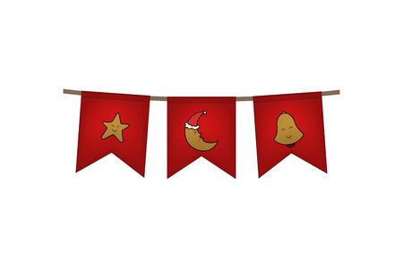 Christmas and new year flag garland. Star, moon and bell. Red decoration. Vector illustration. 向量圖像