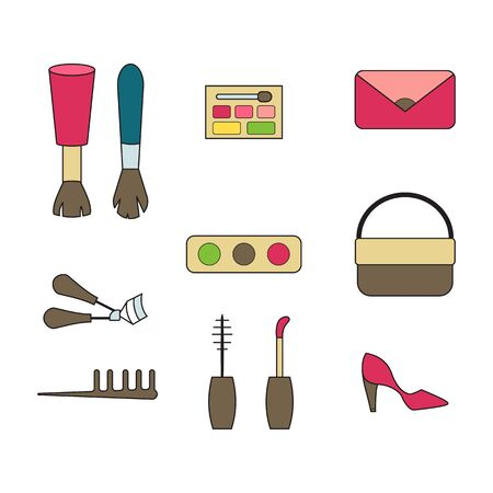 Makeup and fashion vector illustration. Flat doodle design. Cosmetics and accessories.