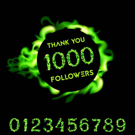 Thank you 1000 followers. Green neon fire design. Vector Illustration card on black background..