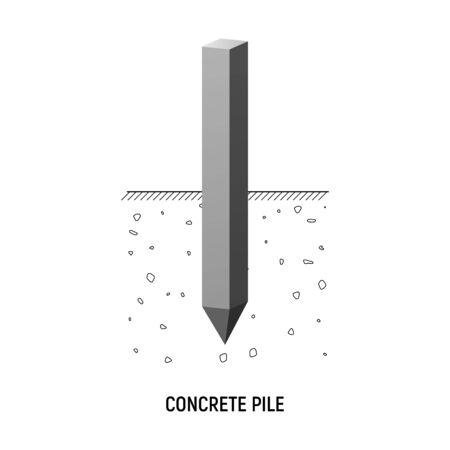 Concrete rectangular pile. Vecor illustration. Construction foundation. Vectores