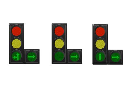 Set of traffic lights. Red, yellow and green. Arrow straight, turn right and left. Vector illustration. Road signal. Vectores