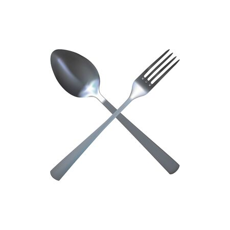 Realistic spoon and fork. Silver flatware. Vector illustration.