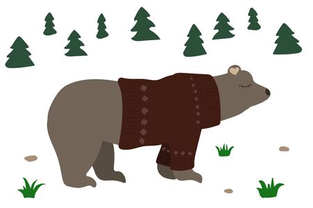 Cute brown bear in a forest. Vector illustration. Red sweater. Vectores