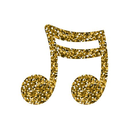 Gold musical note. A sequin texture. Vector illustration.