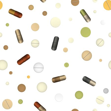Pill and capsules. Vector illustration. Healthcare and medicine. Seamless pattern background.