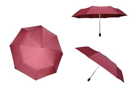 Set of pink umbrellas. Vector parasol illustration. Protection from rain. Vectores