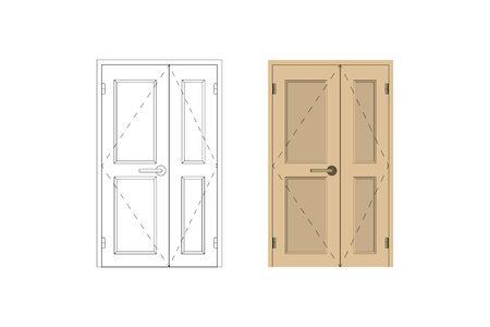 Modern inside door. Blueprint drawing. Design interior. Vector illustration.
