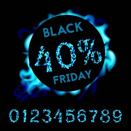 40 percent off black friday. Blue neon fire design on black background. Vector illustration