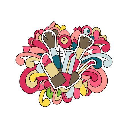 Doodle makeup design. Vector illustration. Lipstick, glitter and brushes