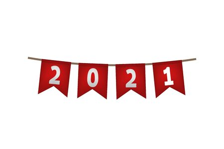 New year flag garland. 2021. Red decoration Vector illustration