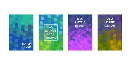 Cards set with pixel modern texture. Vector illustration. Gradient pastel colors.