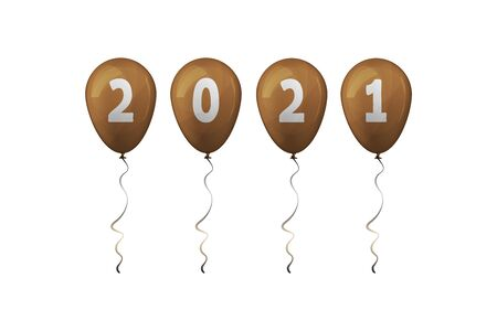 2021 Happy New Year. Gold balloons. Vector illustration. Vectores