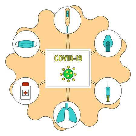 COVID 19 virus icons set. Coronavirus pandemic signs vector illustration.