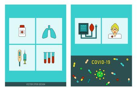 COVID 19 epidemic icons set. Corona virus pandemic signs, ALV, vector illustration card.