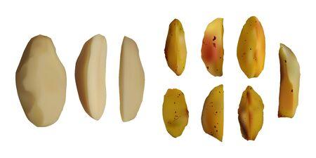 Peeled and baked potatoes. Vector illustration. Vegetarian food. Иллюстрация