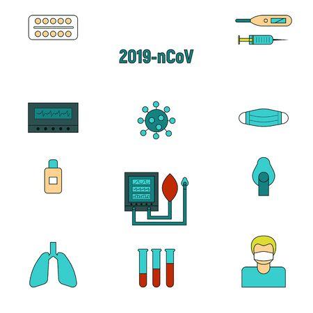 COVID-19 protection icons set. Corona virus pandemic signs vector illustration.