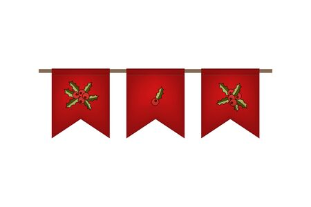 Christmas and new year. Flag garland. Red ilex decoration. Vector illustration.