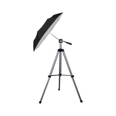 Black umbrella reflector for speed light. Professional camera equipment. A video illustration.