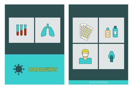 COVID-19 virus seamless pattern background. Coronavirus pandemic signs vector illustration. Vectores