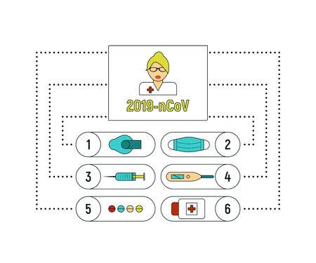 COVID-19 epidemic icons set. Corona virus pandemic signs, vector illustration template. Vectores