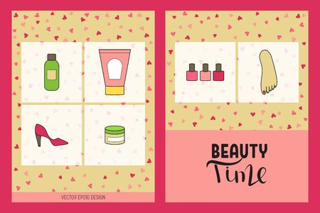 Beauty time brochure. Flat pedicure doodle design vector illustration. Cosmetics and accessories. Vectores