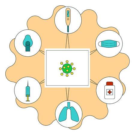 COVID-19 epidemic icons set. Coronavirus pandemic signs vector illustration.