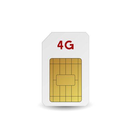 4G SIM card. Vector illustration. Mobile networks technology.