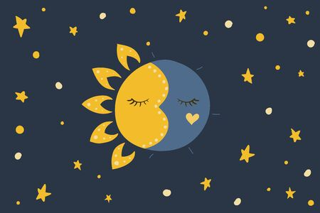 Sun, stars and moon. Vector illustration. Night sky. Blue background Sweet dreams Vectores