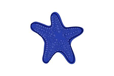 Blue starfish. Underwater animal. Vector illustration Star shape