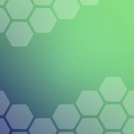 Abstract blue and green background with hexagons. Web blank card design. Vector illustration.
