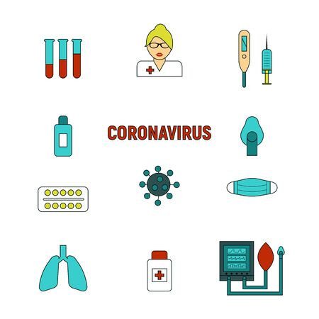 COVID 19 infection icons set. Corona virus pandemic signs vector illustration.