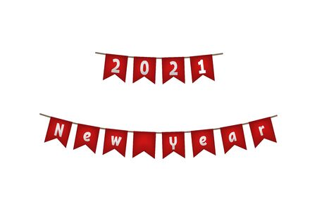 New year 2021. Flag garland. Red decoration Vector illustration