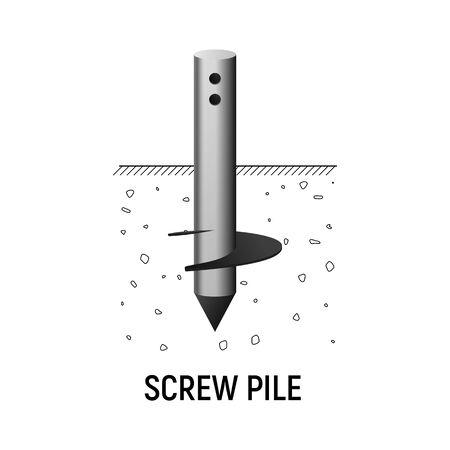 Screw round pile. Vecor illustration. Construction foundation.