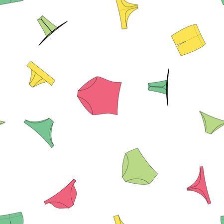 Different panties for women. Vector illustration seamless pattern background. Retro, slip, tanga, thong, string brazilian boyshorts bikini.