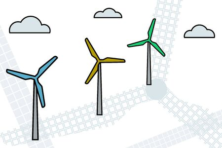 Windfarm. Electric energy. Vector illustration Modern industry