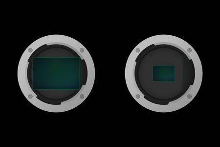 Full frame and crop image sensor. Vector illustration. Part of camera. Vettoriali