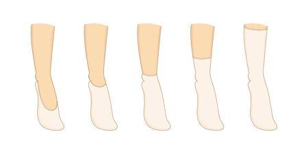 Socks types set. Vector illustration. Womans underwear collection. Stock Illustratie