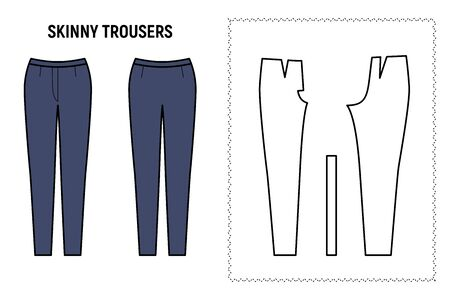 Skinny trousers for woman. Pants vector pattern for tailor. Technical design illustration and sketch.