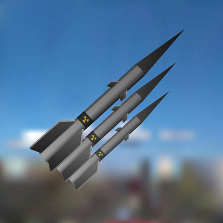 A nuclear missile flies in the sky. Vector illustration. technology war. 向量圖像