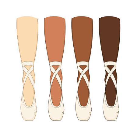 The legs of a ballerina in pointes. Vector illustration of the dancers shoes. Different skin color.